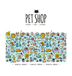 Pet shop background seamless pattern for your vector