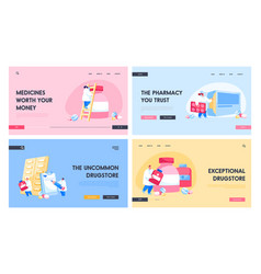 pharmacy hospital landing page template set vector image