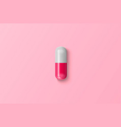 realistic 3d pink white medical pill vector image