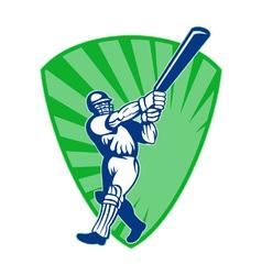 retro cricket shield vector image