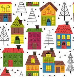 Seamless pattern with houses and spruces vector