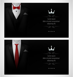 Set black tuxedo business card templates with r vector
