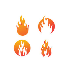 set fire flame logo vector image