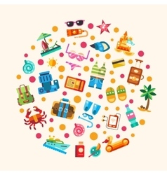 set flat design seaside travel vacation icons vector image