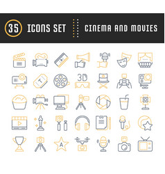 Set flat line icons cinema and movies vector