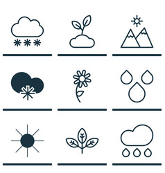 Set of 9 world icons includes water drops cold vector