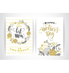 Set of Happy Mothers Day lettering greeting cards vector