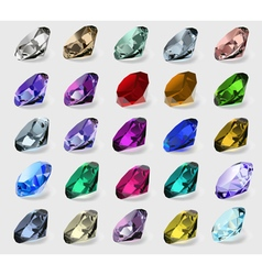 set of precious stones of different colors vector image