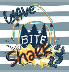 Shark attack bite on striped background vector