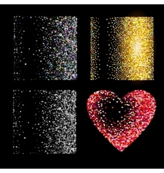 Shiny golden glitter on black background vector