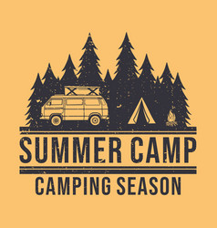 t shirt design summer camp with camping van tent vector image
