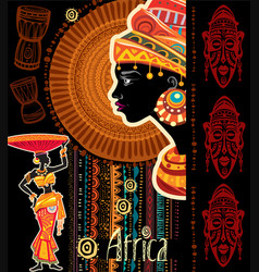 Template with africans motive vector