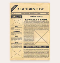 vintage newspaper old realistic pages with vector image