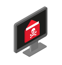virus attack through infected e-mail on computer vector image