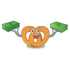 with money bag pretzel mascot cartoon style vector image