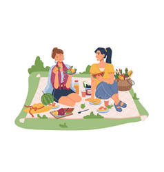 woman friends resting on picnic fruits and drinks vector image
