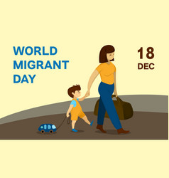 world migrant day concept banner cartoon style vector image