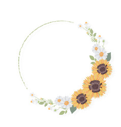 yellow sunflower wreath frame for fall harvest sea vector image