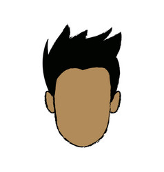 Young man face cartoon profile people image vector