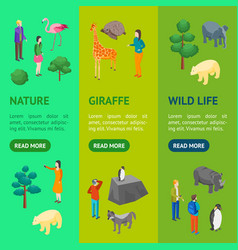Zoo concept banner vecrtical set 3d isometric view vector