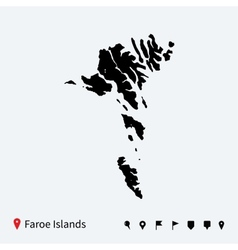 High detailed map of Faroe Islands with navigation vector image vector image