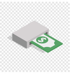 Output of banknotes from atm isometric icon vector