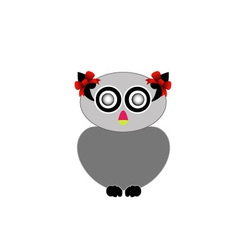 owl with red bow- bird of prey vector image vector image