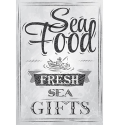 Poster Sea food fresh sea gifts charcoal vector image vector image