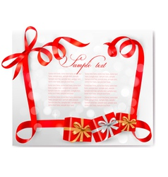 christmas background with red bows and gift boxes vector image