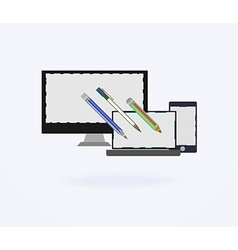 flat design of the user interface on the PC and vector image