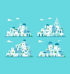 flat design santorini village set vector image