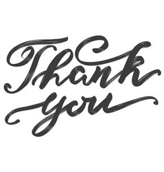 thank you text on white background hand drawn vector image