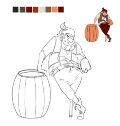 Coloring book pirate who holds a treasure chest vector