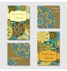 Greeting card design with mandala pattern vector image vector image