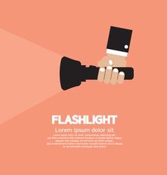 Hand Holding A Flashlight vector image