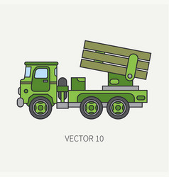 Line flat color icon armored reactive vector