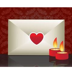 love letter and candles vector image