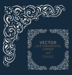 ornamental corner frame vector image vector image