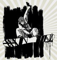 snowboarder hand drawn vector image
