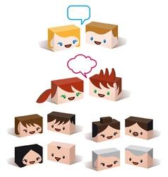 3D avatar heads vector image