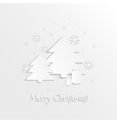 3D paper spruces snowflakes and gift boxes vector image