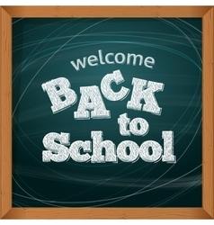 Back to school School icons on a blackboard vector image vector image