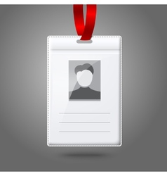 Blank vertical badge holder with place for photo vector image vector image
