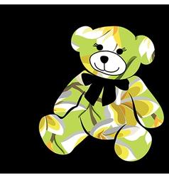 Cartoon bear The silhouette of the elephant vector image