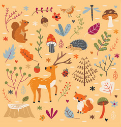 cute autumn forest set vector image
