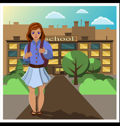 girl comes home from school vector image vector image