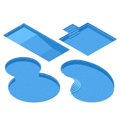 isometric set different forms swimming pools vector image vector image
