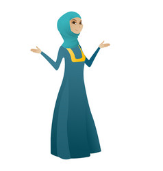 muslim confused business woman with spread arms vector image vector image