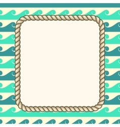 nautical ropes frame waves background vector image vector image