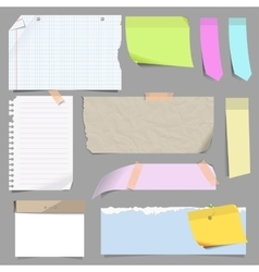 set of blank note paper vector image